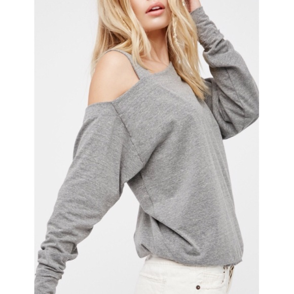 5359b7532e604 Free People Gray Saratoga Off The Shoulder Top